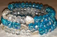 Memory Wire Wrap Bracelet With Aqua Blue & Clear Toned Glass Beads  Handmade