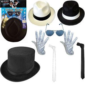 MICHAEL JACKSON HAT & SEQUIN GLOVE SET DELUXE FANCY DRESS GANGSTER COSTUME