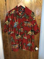 Box Office Island Hawaiian Red Cars Party Shirt Small S Mens
