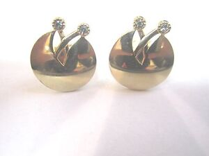 * PAIR OF GOLD COLORED SWANK MEN'S FASHION CUFFLINKS WITH TWO CZ'S EACH        Z