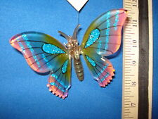 Butterfly Ornament Pink and Blue Pressed Glass 68201 135