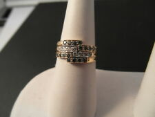 Q133 Ladies or Gents 18ct gold Green & Clear Diamond band ring size P