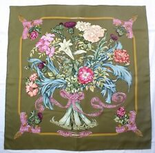 "Authentic HERMES Paris REGINA L. Menchari Green Pink Floral 35"" Silk Scarf 1997"