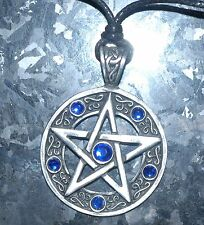 Pentagram Pendant Necklace Pagan Wicca Pewter on Cord with Display packing 45mm
