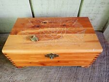 "Vintage Hand Carved Wood ""Locking"" Box~Dovetailed~Mirror~Heart Shaped Lock & Key"