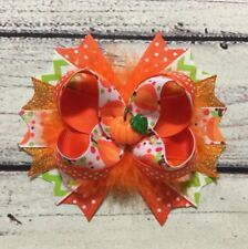 "5"" Handmade Fall/ Thanksgiving /Halloween Pumpkin Stacked Boutique Hair Bow"