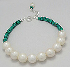 "7.5"" -8.5"" Solid Sterling Silver 9mm Pearl and Turquoise Bracelet"