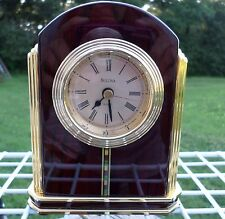 Bulova Clock for Table, Mantel or Shelf, Brass & Polished Red Wood NICE!!!