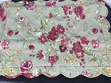 Pottery Barn Two Romantic Floral Quilted Sham Print Standard Shams Green