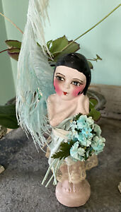 Adorable 1920's Flapper Kewpie Carnival Chalkware Doll Antique Feather Blue Silk