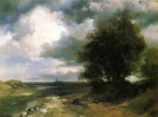 Oil painting Thomas Moran - East Moriches landscape with tree free shipping cost