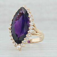 10.71ctw Marquise Amethyst Diamond Halo Cocktail Ring 14k Yellow Gold Over