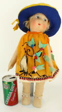 "Gorgeous Antique French Cloth Gre Poir 18"" Doll C1930 Adorable Lenci style"