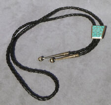 1950's Turquoise Inlay Sterling Silver BOLO TIE Vintage American Indian ELB Name