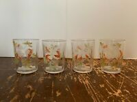 Vintage Hand Painted Flowers on Clear Glass 8 Ounce Tumbler Set of 4 H