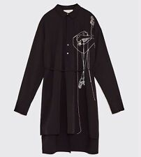 *SOLD OUT*BNWT ZARA WOMAN STUDIO EMBROIDERED BALLERINA SHIRT NAVY BLUE 2442/693