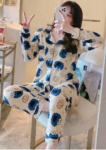 Ladies Women Pyjamas Set Long Sleeve Night wear Lounge Wear Pajamas Pjs Sleep Db