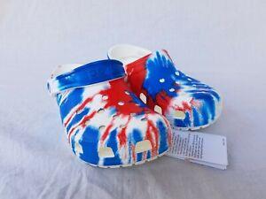 New Women's Crocs Classic Tie Dye Graphic Clogs 205453 928 White Multi