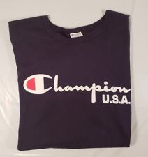 bf4b704321b CHAMPION U.S.A Reverse Weave T Shirt Large Script Spell Out Sz. L