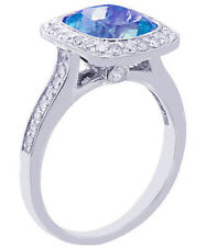14K WHITE GOLD CUSHION CUT BLUE TOPAZ AND DIAMONDS ENGAGEMENT RING 3.00CTW