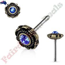 with Blue Gem Floral Design End 316L Surgical Steel Antique Gold Nose Stud