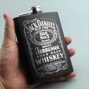 Flagon Alcohol Bottle 8oz Stainless Steel Black Whiskey Vodka Hip flask Portable