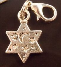 STAR SHAPED MOON & STARS Silver tone clip on charm for bracelet lobster clasp