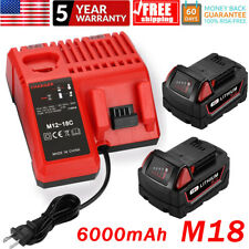 Battery For Milwaukee M18 48-11-1860 XC 6.0 Ah with Rapid Charger Fuel Gauge
