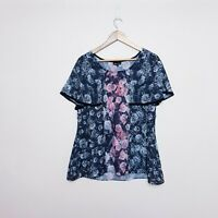 City Chic Plus Size Small Black Pink Flutter Sleeve Floral Blouse Top
