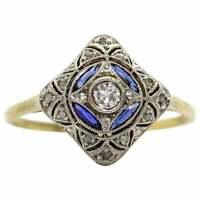 Vintage Art Deco 1.37 Ct White Round Diamond Antique Edwardian Ring 925 Silver $