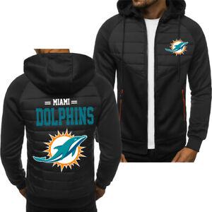 MIAMI DOLPHINS Men Fans Hoodie Sporty Jacket Zip up Coat Autumn Sweater Tops