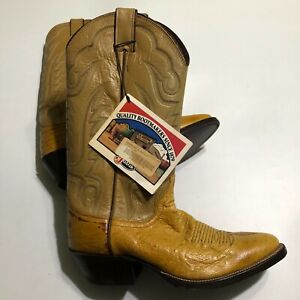 Justin Mens NOS 8737 Butterscotch Ostrich Leather Boots 7.5 D NWT