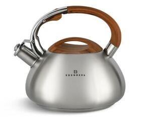 Whistling Kettle 3 L Stove top Induction Gas Ceramic Electric Brown Silver Satin