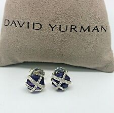 DAVID YURMAN 10mm Cable Wrap Amethyst & Diamonds Earrings in Sterling Silver