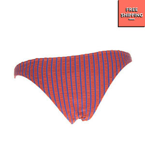 SOLID & STRIPED Seersucker Bikini Bottom Size L Striped Pattern Fully Lined