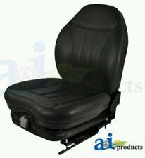 High Back Industrial Seat w/ Suspension, Slide Track, Black Vinyl, Fits Most