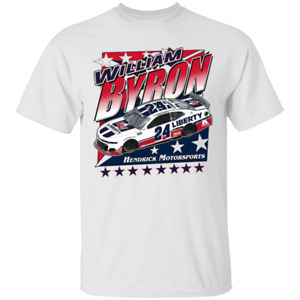 Men's #24 William Byron Team Collection Nascar Racing 2020 White T-shirt S-4XL