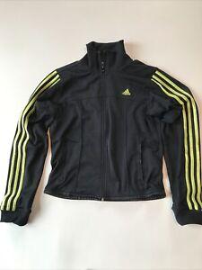 Adidas Womens Medium Retro 3 Stripes Track Jacket Black w/ yellow LOOKS UNWORN!