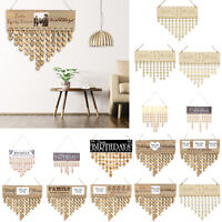 Wooden Calendar Birthday Party Home Decoration Pendant Craft Wall Hanging Decor