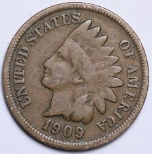 1909 INDIAN HEAD CENT PENNY / CIRCULATED GRADE GOOD / VERY GOOD 95% COPPER COIN