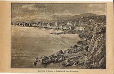 Stampa antica GENOVA SAMPIERDARENA veduta dal faro Liguria 1899 Old print