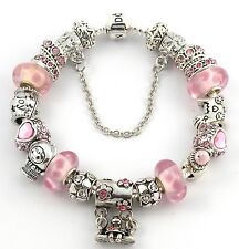 NEW Authentic PANDORA Bracelet with NEW BABY GIRL European Charms & Murano Beads