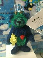 GALAXY Deb Canham Navy Green Mini Mohair Alien Teddy Bear Out of Towners