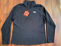 NWT The North Face Women's 100 1/4 Zip Fleece Glacier Pullover Jacket Black L