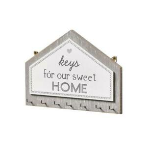 Wooden Key Holder Wall with 7 Hooks Organizer Wall Plaque Distressed Decorations