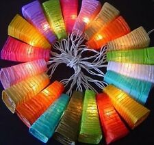 1 x 100 Light Mixed Colours 10 Meter Paper Bell LED Lanterns UK Plug Fairy Light