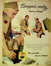 1960 Have a Pepsi-Cola Soda-Pop Boy Scouts Memorabilia Camping Cook-Out Print AD