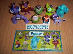 Series Monsters University TR250 - TR258 +9 Bpz Kinder Merendero Joy Italy 2013