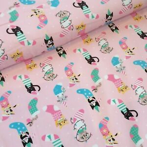 Christmas Themed Cotton Elastane  Jersey Fabric, 1.5m wide, by the 0.5m