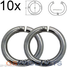 10x 6mm Stainless Steel Lockable Split Ring FREE Postage & Packaging!